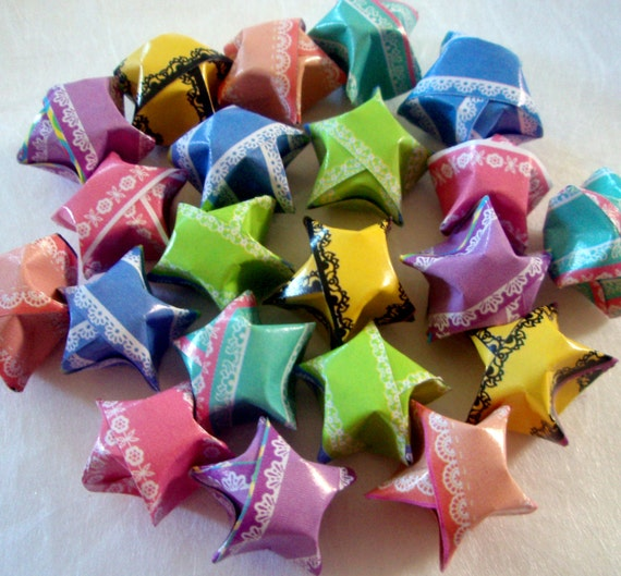 24 Origami Stars Lace Design Pastel Lucky Stars Lacy Etsy