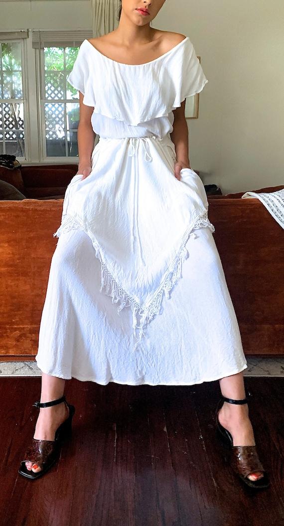 White Cotton Fringe 70's Skirt Set