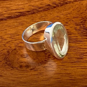 4 Grams .925 Sterling Silver Green Amethyst Faceted Pear Boho Hippie Gemstone Ring Size 8.5 Ring Rings Band With Stone Gifts for Women