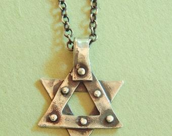 Unisex Studded Jewish Star Necklace