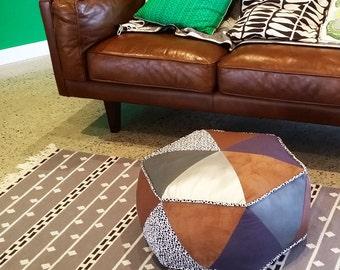 Hexagon Pouf PDF Sewing Pattern Triangle Patchwork Ottoman Pattern