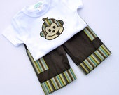 All Clothing HALF PRICE Pants w/ Adjustable Waist and Monkey Appliqued Tshirt, Linen Cotton, Baby Boys Clothes, Adjustable Cuff, Size 6 - 18 months. Children's Clothing by Angel Lea Designs