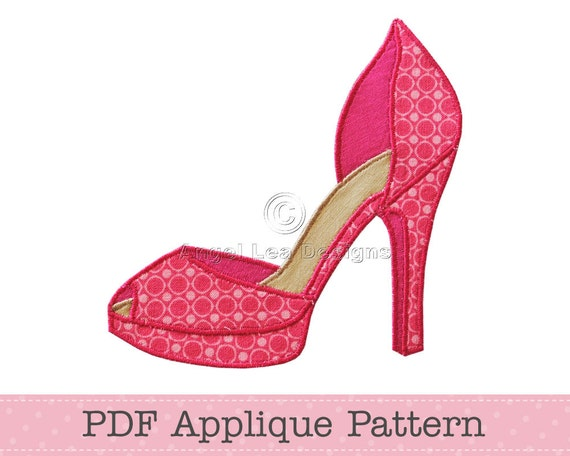 High heel shoe applique pattern fancy shoes template instant etsy image 0 maxwellsz