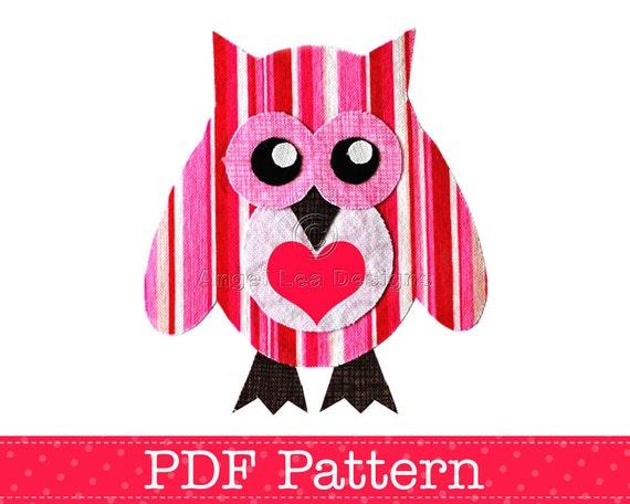 Valentine Owl Applique Template Bird Animal Owl On Branch Etsy