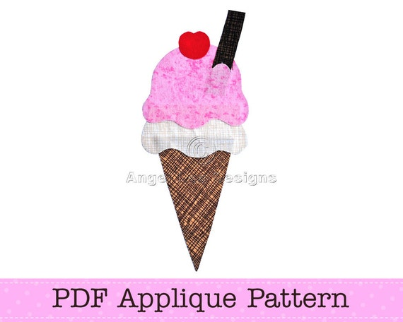 Ice cream template ice cream applique icecream cone pdf etsy maxwellsz