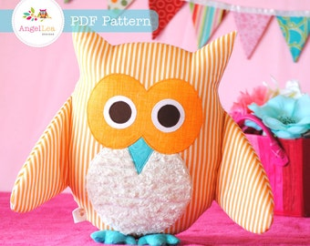 Owl Softie Pattern. PDF Sewing Pattern for Owl Softie, Cushion, Pillow, Plushie, Nursery Bedding Home Decor, How To DIY by Angel Lea Designs
