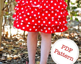 Ruffle Skirt Pattern. PDF Sewing Pattern and Tutorial for Lexi Ruffle Skirt, Make and Sell, DIY, Sewing Patterns by Angel Lea Designs
