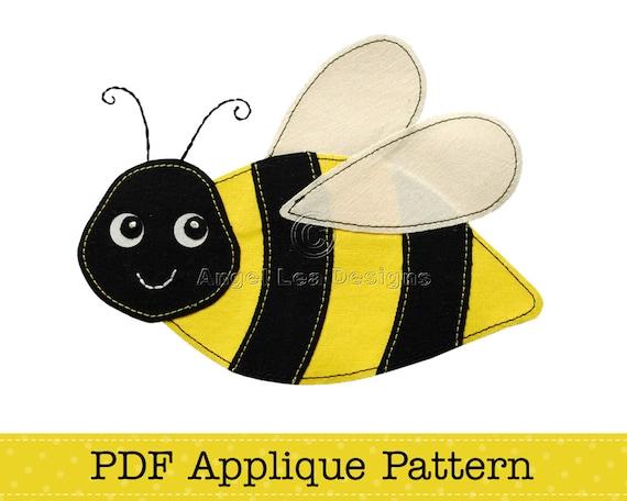 Bumblebee Applique Template Cute Bee Applique Pattern Pdf File Etsy