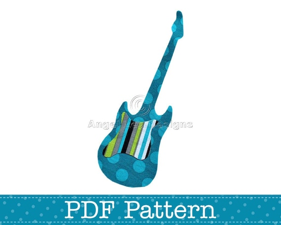 Electric Guitar Applique Template Musical Instrument Diy Etsy