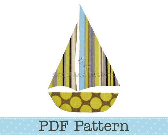 sail boat applique template yacht diy children pdf pattern etsy
