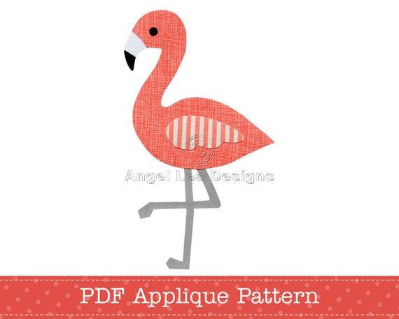 flamingo applique pattern pdf flamingo applique template etsy