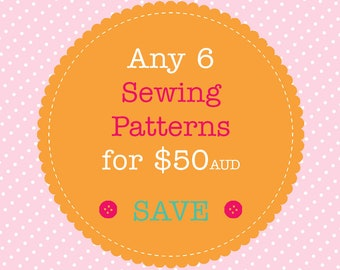 Sewing Pattern Bundle - Save When You Buy 6 PDF Sewing Patterns. Multiple Purchase Discount. You Choose Patterns