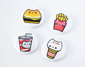 Cat Burger Button, Cute Cat Button, Cute Cat Magnet, Cat Lover Gift, Ice Cream Button, Fries Button, Fries Magnet, Ice Cream Magnet