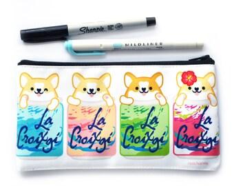Corgi Dog Puppy Love Glasses Pattern Pencil Pen Organizer Zipper Pouch Case