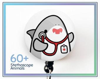 Nurse Badge Reel with Belt Clip by Purida Cute Animal Name Badge Reel Retractable Animal Eyes Iris 5 Patterns