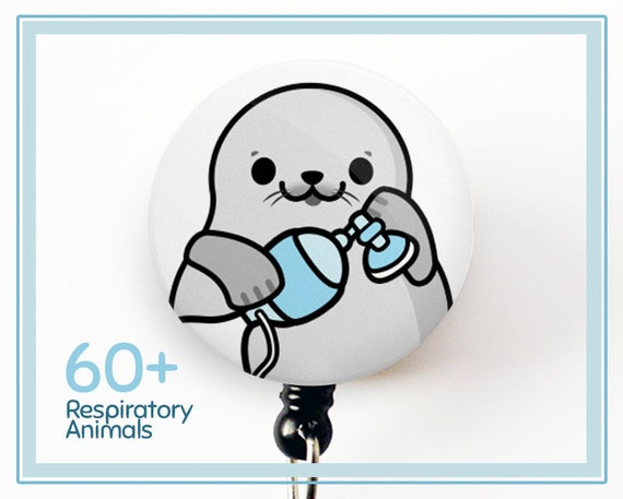 Respiratory Therapy Badge Reel Ambu Bag Badge Crna Badge Anesthesiology Badge Crna Gift Anesthetist Gift Rt Gift Animal Badge Cute