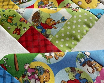 Baby Quilt Top Unfinished, Welcome to Bear Country by The Berenstains by Southern Fabric for Moda, 38 inch square, sports, butterflies, DIY