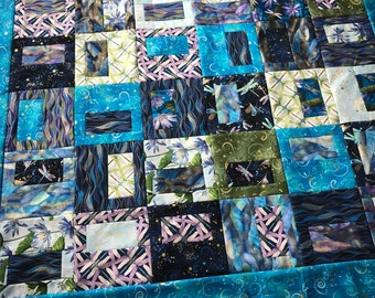 Dragonfly Dance by Kanvas Studio quilt top UNFINISHED, lap sized, 60 x 60 inch, Teacup pattern, Benartex, blue, purple, green, square, wings
