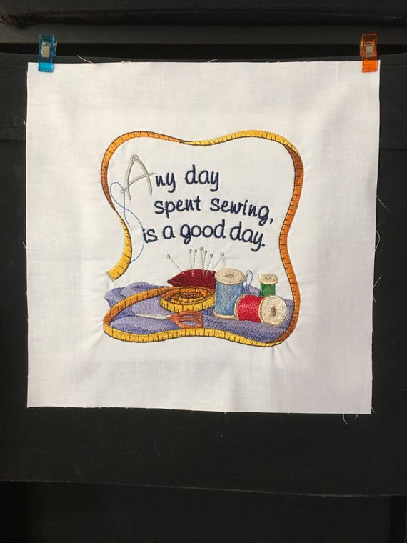 Embroidered quilt block sewing ready to sew or frame 10 | Etsy