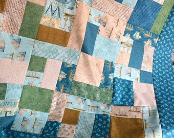 Sailboat fabric quilt TOP Unfinished / lap sized / Tall Ships by Windham Fabrics, handmade / blue gift for him / ready to quilt 43 x 52 inch