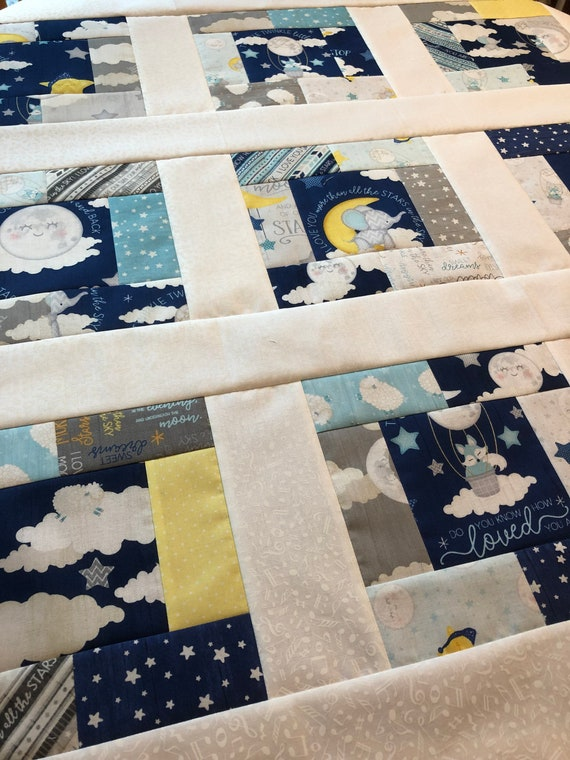 Baby Boy Quilt TOP All Our Stars by Jennifer Pugh - UNFINISHED - 38 inch / Lullabye, moon, stars, baby bunting, sheep