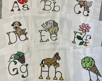 Alphabet fabric embroidered quilt block bundle, ready to sew, 6 inch squares, ABCs, quilt kit, DIY, Ispy, animal fabric, memory quilt