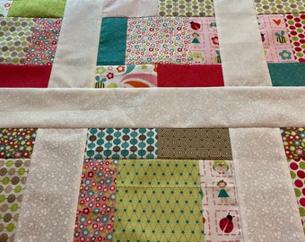 Alphabet Soup baby girl quilt top, unfinished, Zoe Pearn for Riley Blake Designs, 38 inch, ready to ship, owls, ladybugs, polka dots, zoo