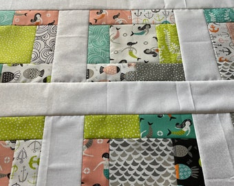 Fish Tales unfinished baby quilt top, by Annie Brady, mermaids, fish, sand dollars, nautical, 38 inch, teal, orange, green, crib quilt