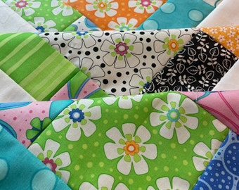 Daisy Unfinished crib quilt TOP Moda Dilly Dally fabric, 38 inch, floral, stripes, ready to quilt, baby shower, girl, bedding, baby, pink