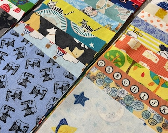 Ispy quilt squares 5 inch (50) charm pack, Great for I spy quilt kit, gender neutral prints, boy and girl fabrics, animals, mixed lot P