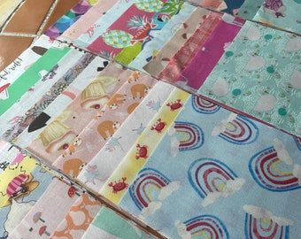 ISPY quilt kit, 50 5 inch squares, charm pack for GIRLS, I Spy novelty fabric, butterfly, pre-cuts, pink, baby quilt, scraps, destash LOT E