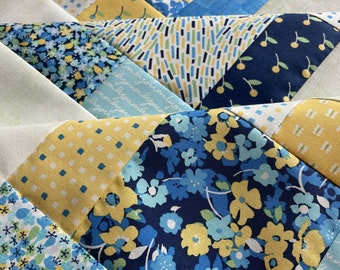 Yellow and Blue baby quilt top, unfinished, Andover Only You, 38 inch, ready to ship, flowers, floral, white, floral, daisy, green, grunge