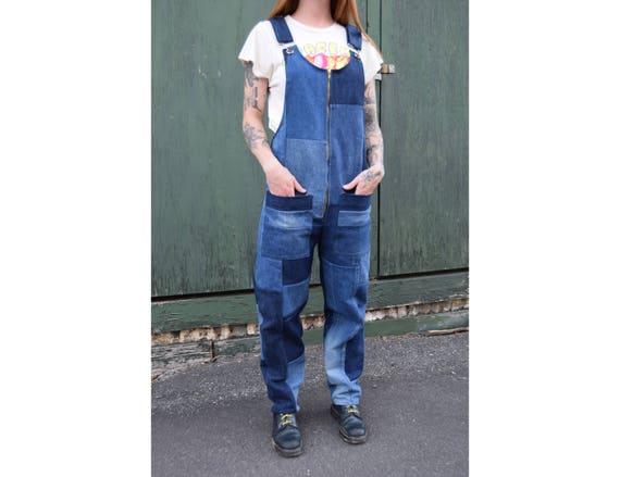 lenkkitossut valtava valikoima vähittäishinnat Dark Blue Recycled Denim Patchwork Overalls. Made to Order in S, M, L, XL.  100% cotton, vintage denim, zip up front.
