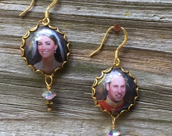 William and Kate, Duke and Duchess of Cambridge, Upcycled Tin Wedding Earrings