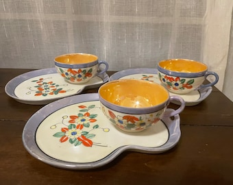Set of 3 vintage lusterware luncheon plate and cup