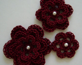 Crocheted Flowers - Burgundy With a Pearl - Cotton Flowers - Crocheted Flower Appliques - Crocheted Flower Embellishments - Set of 3