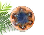 Mid Century Modern Enamel Copper Dish / Vintage Peach & Cobalt Abstract Enamel Trinket Dish