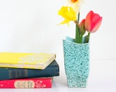 Mid Century Modern Stanford Pottery Aqua Splatter Vase / Vintage Stanford Pottery Vase / Vintage Atomic Era Vase