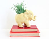 Vintage Yellow Ceramic Elephant Planter / Vintage McCoy Elephant Planter