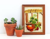 Vintage Plants and a Cat Crewel Embroidery / Retro Plants Needlework Wall Hanging / Framed House Plants Crewel Work Embroidery