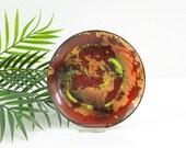 Mid Century Modern Enamel Copper Dish / Vintage Rust & Copper Abstract Trinket Dish