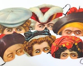 Vintage Madame Tussaud's Victorian Replica Face Masks / Vintage Halloween Paper Face Masks