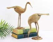 Mid Century Modern Large Brass Cranes Pair / Vintage Brass Cranes / Hollywood Regency Brass Birds