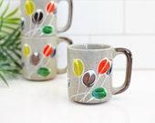 Vintage Stoneware Mug / Vintage Abstract Flower Mug / Mid Century Stoneware Coffee Mug