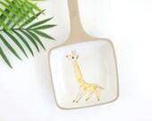 Mid Century Modern Glidden Giraffe Handled Serving Dish / Vintage Glidden Pottery Menagerie Dish / Vintage Studio Pottery Egg Shirrer