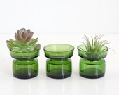 Danish Modern Dansk IHQ Green Glass Tealight Holders by Jens Quistgaard / Mid Century Modern Candle Holders