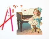 Antique Mechanical Valentine from Germany / Large Vintage Die Cut Valentine / Vintage Moving Valentine / Girl Playing Music on Piano