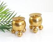 Vintage Pair of Bauhaus Brass Sphere Candlesticks / Mid Century Modern Brass Candle Holders