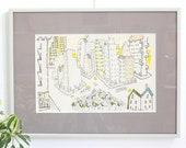 Vintage Framed Original Artwork / City Drawing Signed Freeman 85 / Vintage Artwork