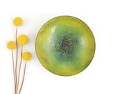 Rare Mid Century Lawrence Deverell Enameled Copper Green Footed Art Bowl / Vintage Enamel Bowl Artist Signed